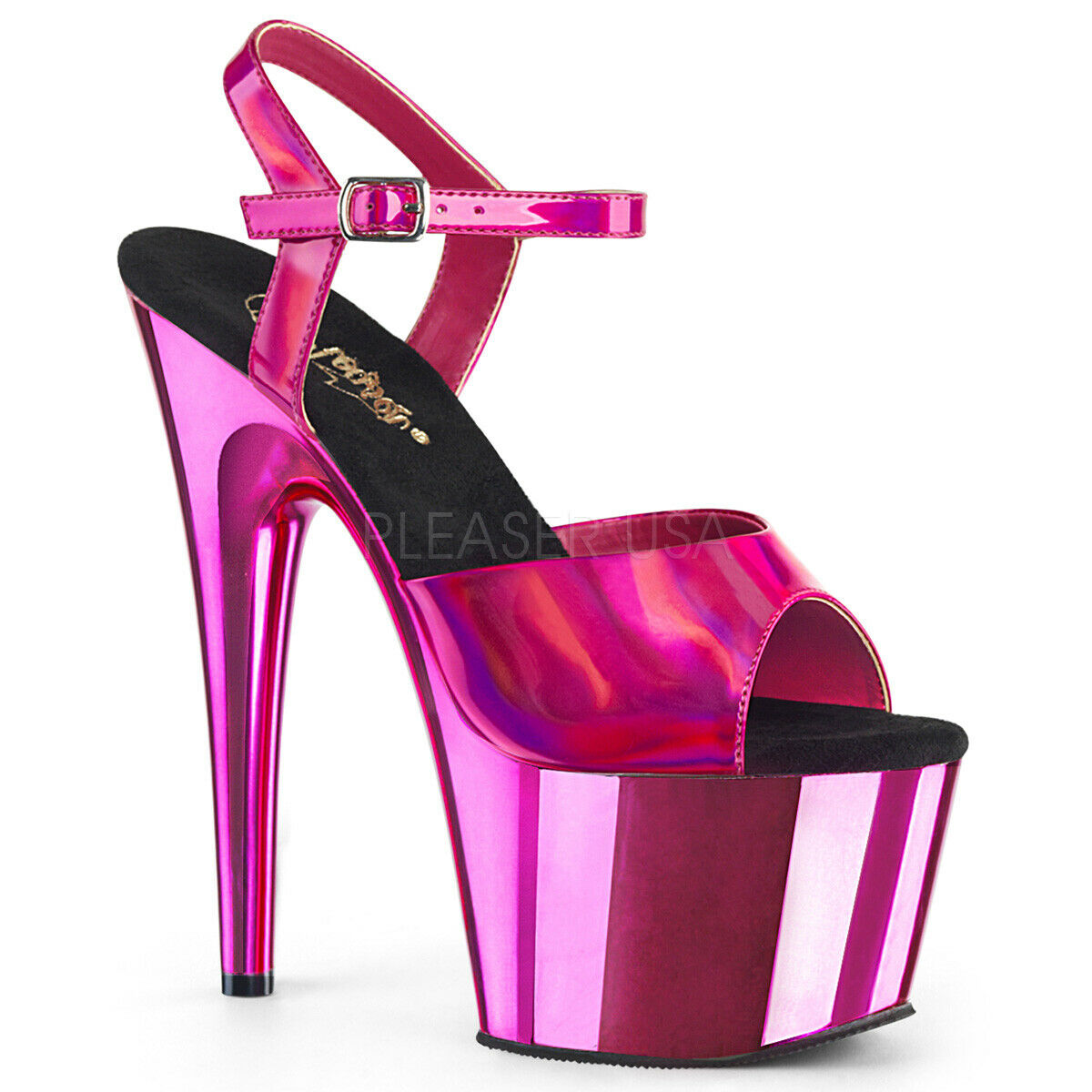 Pleaser Adore-709HGCH Hot Pink Hologram Chrome Plated Ankle Strap Sandal