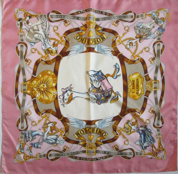 76c97b85bf1c -Authentique Foulard MOSCHINO 100% soie TBEG vintage scarf