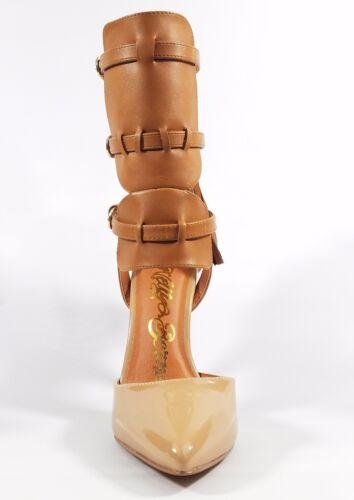 Nelly Bernal Dolores Cognac Pointy Toe Ankle Shield Pump Zipper Tassel Pull 7-12