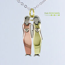 """Sisters Necklace 2 Sisters Jewelry Far Fetched Mima Oly 18""""Chain Silver Brass"""