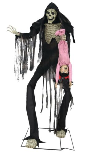 """HALLOWEEN 84/"""" ANIMATED TOWERING BOOGEY MAN WITH KID PROP"""