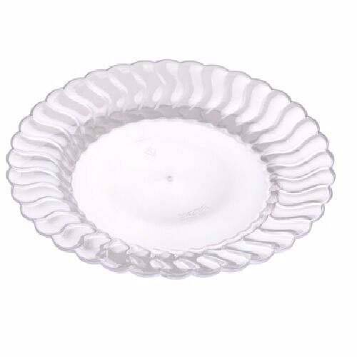 180 7.5  CLEAR HEAVY DUTY PLASTIC SCALLOPED SALAD BUFFET PLATES  DISPOSABLE