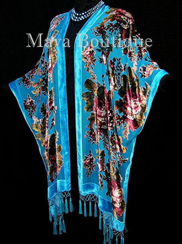 Caftan Kimono Duster Silk Burnout Velvet Turquoise Gypsy Rose Maya Matazaro