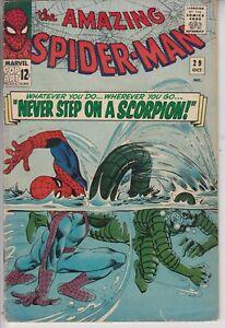 AMAZING-SPIDER-MAN-29-VG-2ND-APP-SCORPION-STAN-LEE-DITKO-ART-CENTS-1965