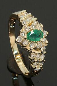 9-Carat-Yellow-Gold-Pear-Shaped-Emerald-amp-Diamond-Ring-0-33ct-Size-M-10-10-012