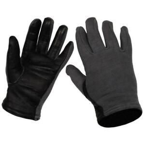 Original Belgium army military Pilot gloves Black blue cotton leather Size 8 (M)