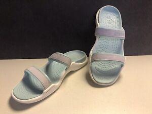 Crocs Womens Size 11 Cleo 2 Strap Slides Sandals Flat Heel Slip Blue & White
