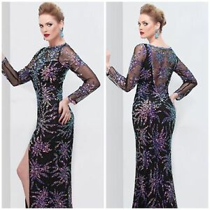 3045e85bc3 nwt primavera couture long sleeve sheer-back gown in black multi ...