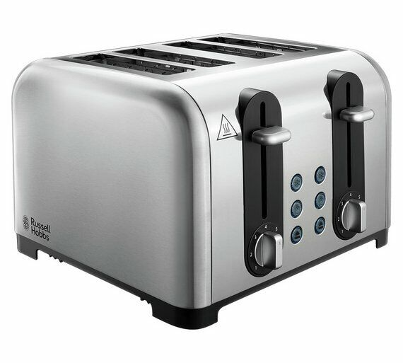 Russell Hobbs Worcester 4 Slice Toaster Brushed & Polished Stain Stainless Steel