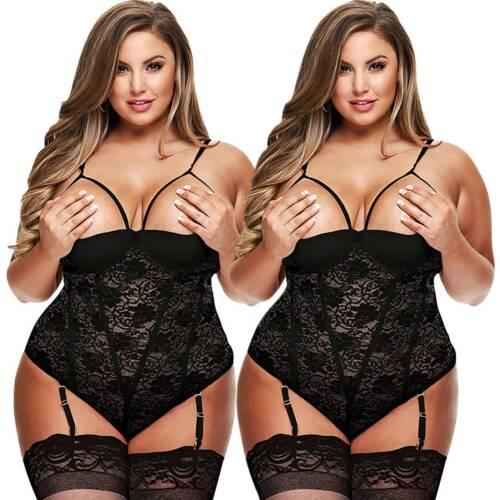 Details about  /Womens Lingerie Bodysuit Crotchless Dress Babydoll Nightwear Sleepwear Plus Size