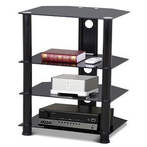 4 shelves glass media component tv stand audio stereo hi fi av rh ebay co uk Wall Mount Av Shelves 2 Shelves and a Picture
