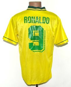 BRAZIL 1994/1995/1996/1997 HOME FOOTBALL SHIRT JERSEY #9 RONALDO UMBRO SIZE M