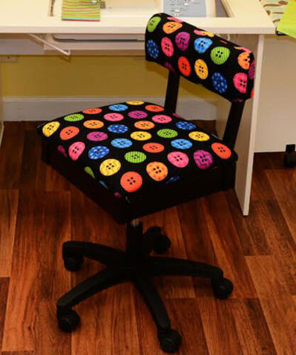 Arrow Hydraulic Sewing Chair in Black with Riley Blake Button Fabric
