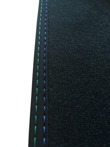 Fußmatten für BMW 5er F11 in Velours anthrazit Deluxe mit Doppelnaht blau-grün