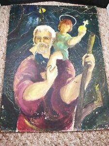 ** Vintage Antique Greek Icon Painting Orthodox Saints Child Cross 1960s 1970s