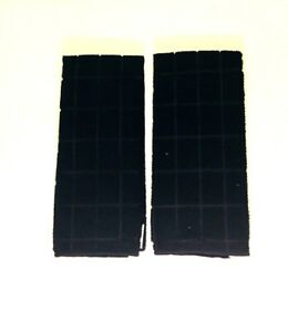Kitchen-Dish-Hand-Towels-Black-Solid-Color-Set-Of-Two-New-15-X-25-034