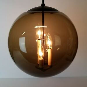 Mid-Century-Modern-Hanging-Light-Entry-Smoked-Large-Globe-Rimless-Fixture-14in