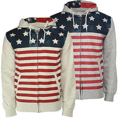 Mens Sweatshirt Hoodie Soulstar American USA Flag Stars And Stripes Print Top