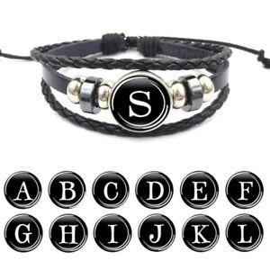 Talsohle Preis gut begrenzte garantie Details zu Damen Herren Namen Armband Buchstabe Leder Alphabet luxus  Schmuck Mode Schwarz