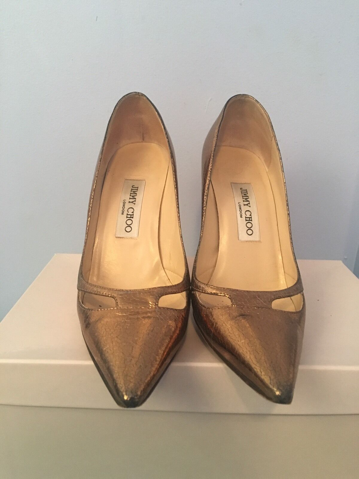 Jimmy Choo Gold Pointed Toe Pumps