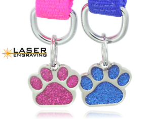 LASER-Glitter-Paw-Pet-ID-Tag-Custom-Engraved-Dog-Tag-Cat-Tag-Personalized