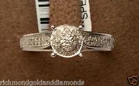 White Gold Halo Vintage Antique Flower Style Diamonds Engagement Promise Ring