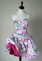 Vintage Strapless Cotton Corset Dress -1980s Pink Prom - ELASTICATED BACK - UK 8