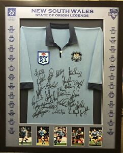 Blazed-In-Glory-NSW-State-Of-Origin-Legends-NRL-Signed-amp-Framed-Jersey