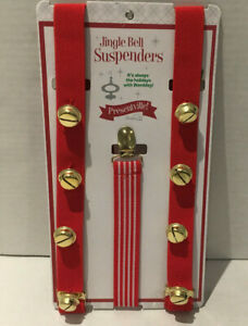 NWT Wembley Novelty Jingle Bells Holiday Suspenders Red /& Green Adult One Size