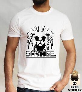 02e6a9695 New Savage Lion T-shirt Cool Fashion Animal Design Men's Gift White ...