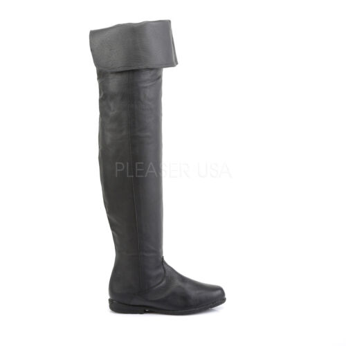 Men/'s Renaissance Medieval Pirate Pig Leather Thigh High Costume Boots