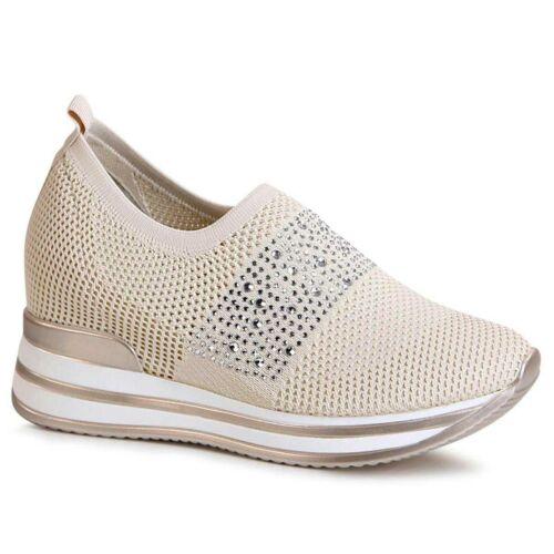 Damenschuhe Keil Sneaker Plateau Halbschuhe Hidden Wedges Glitzer Slipper Trendy