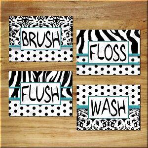 Wondrous Details About Teal Black Bathroom Wall Art Picture Prints Decor Zebra Dot Damask Wash Flush Download Free Architecture Designs Lukepmadebymaigaardcom