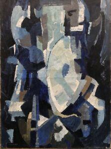 Tableau-peinture-moderne-XXe-cubiste-signe-Chauvet
