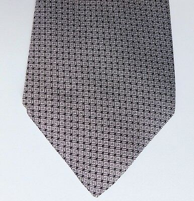 Vintage Turnbull & Asser silk tie Grey and black check vintage 1980s 1990s