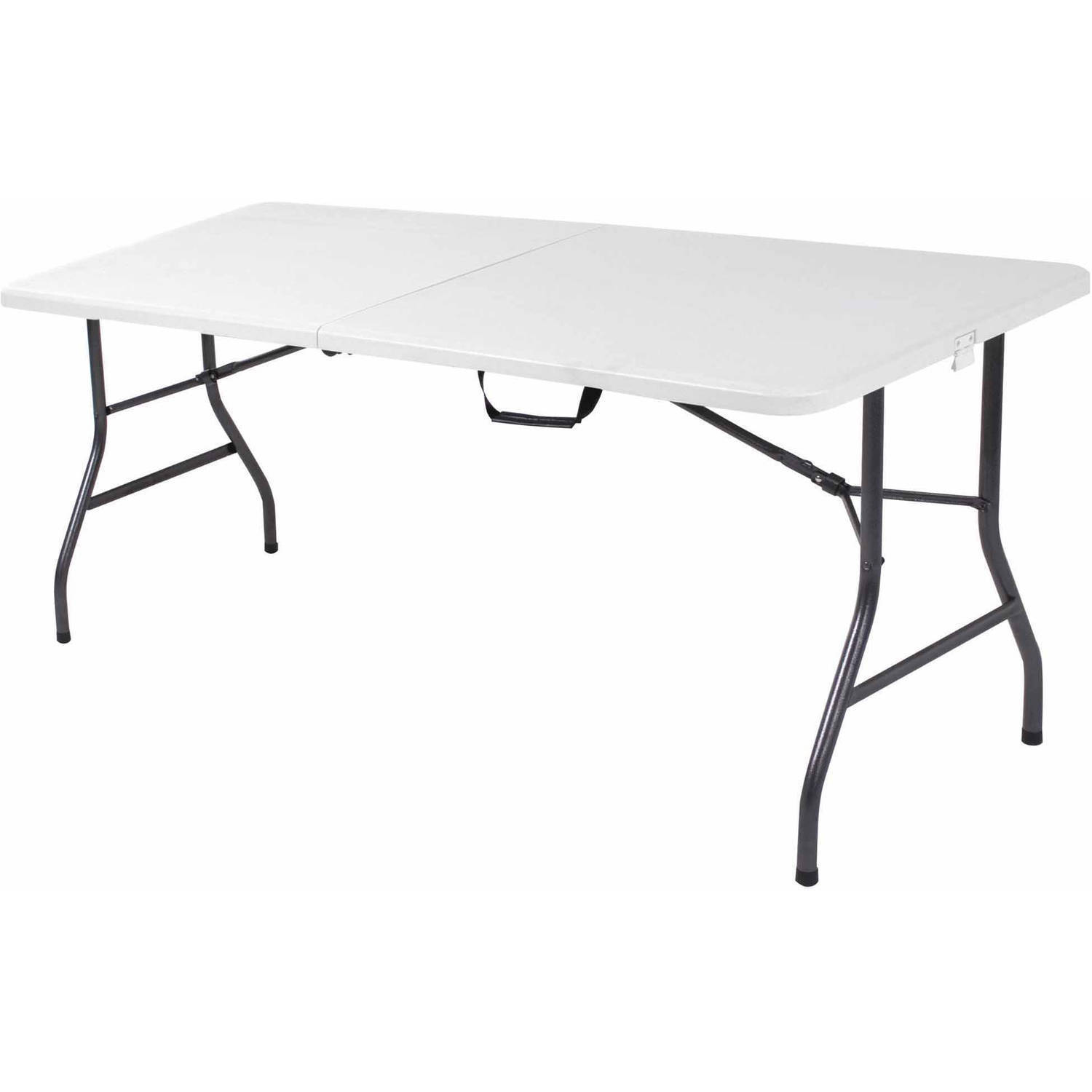 6' Centerfold Table White Folding Portable 6-Feet 6' Picnic Camping Party