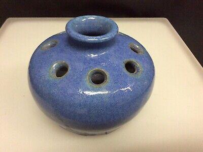 Vintage Roadside Craftsmen Pottery E Bloomfield Ny Blue Flower Frog Vase Xlnt Ebay