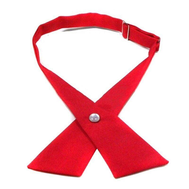 Criss-Cross Bow Adjustable Girls Silk Neck Tie School Uniform Hotel Clerk Ties