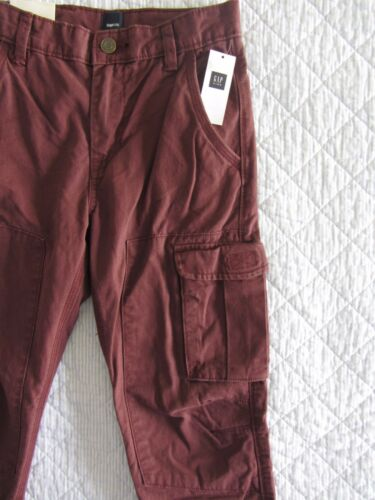 NWT GAP Kids Cargo Pants Boy Sizes 5 12 Dark Cranberry Canvas Bottom