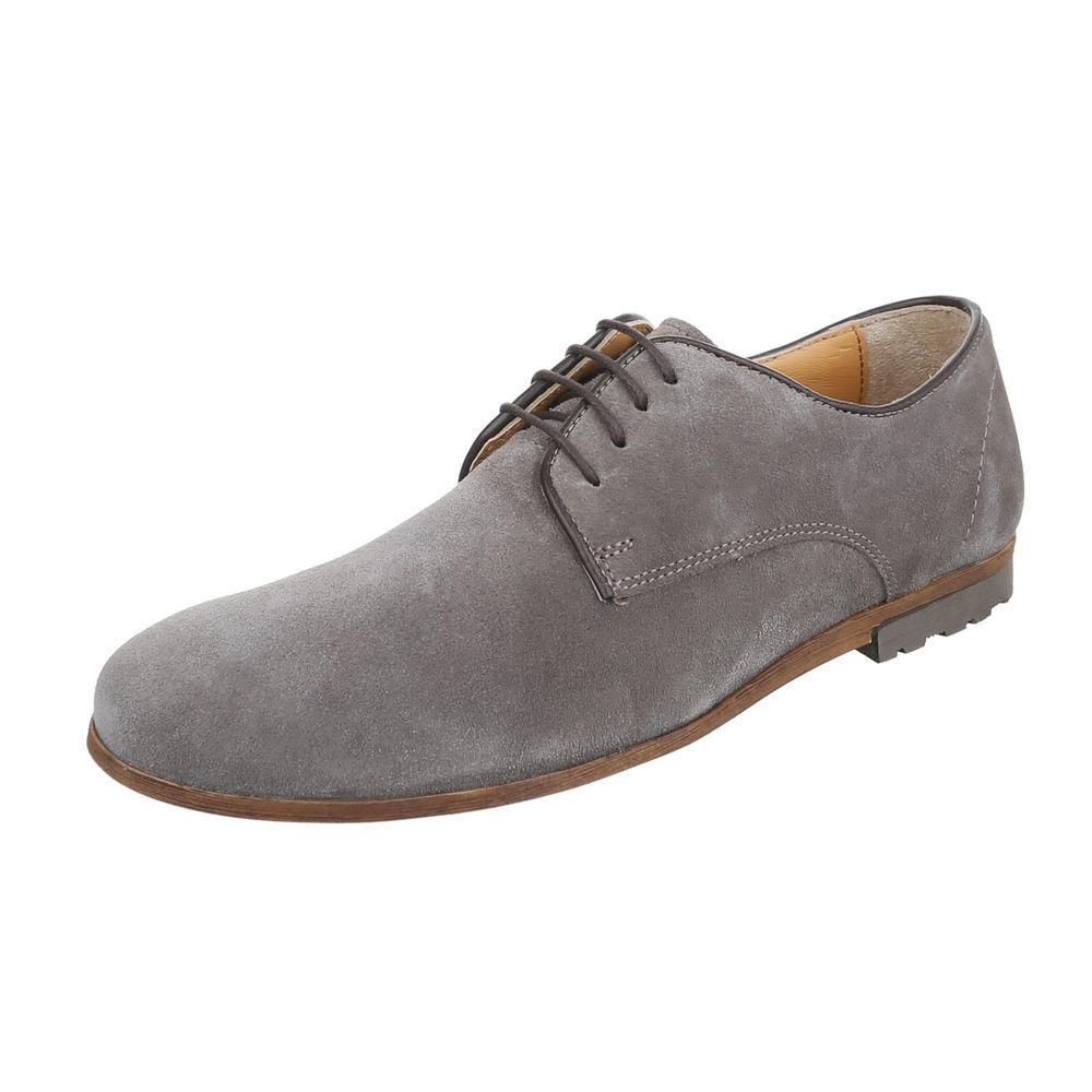 Cuero con cordones zapatos abotinados zapatos caballero de diseño nuevo talla gris 44 3056