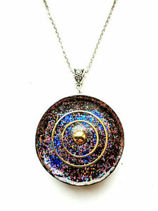 necklace-Orgone-Orgonite-pendant-034-Planet-Galaxy-034-stones-crystals-Reiki-Chakra