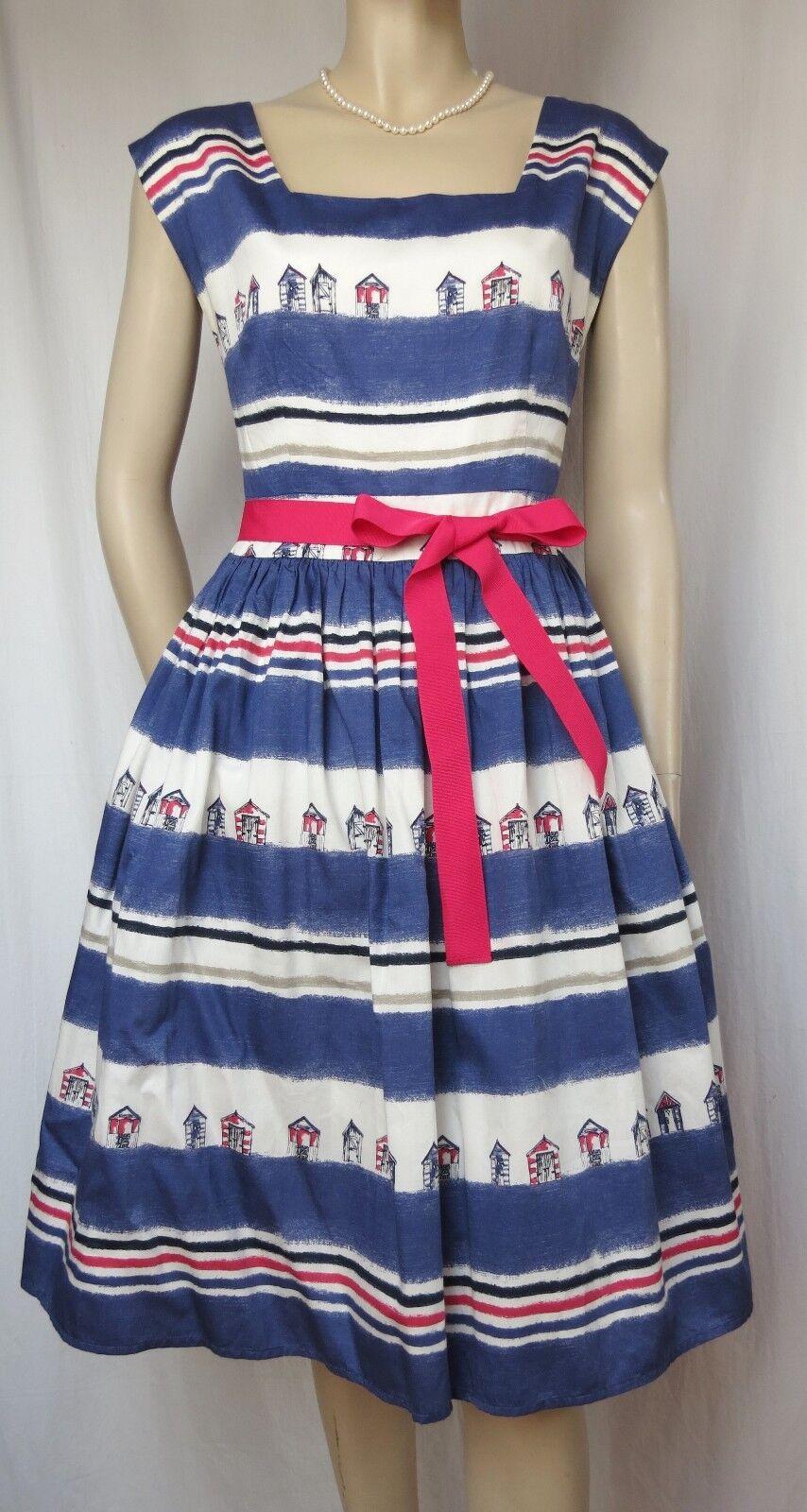 Laura Ashley Sommerkleid 36 blau weiß maritim Hochzeit Baumwolle Streifen