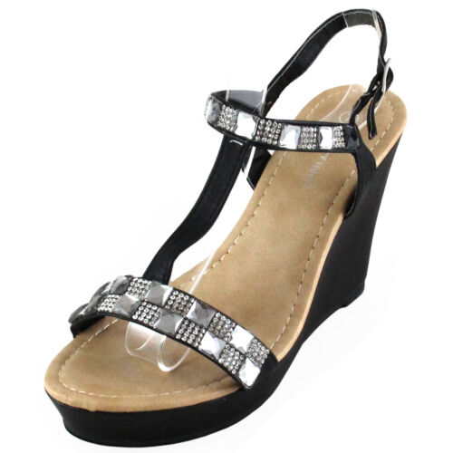 New women/'s shoes sandals open toe wedge black rhinestones casual party summer