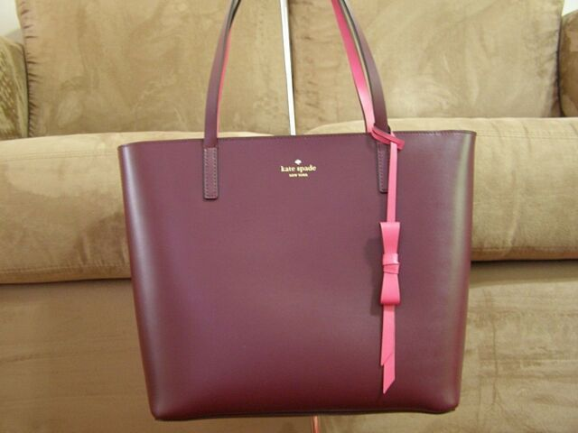 8c2fbf4c465e Kate Spade Lawton Way Rose Smooth Deep Plum Leather Large Tote Wkru5513