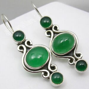 Drop-Dangle-GREEN-ONYX-Earrings-3-Cab-Stones-925-Sterling-Silver-Gift-1-5-034