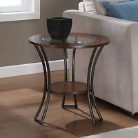 Carlisle Walnut/ Charcoal Grey Round End Table