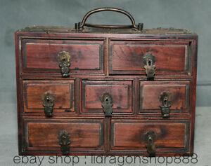 8-034-Ancien-Chinois-Huanghuali-Bois-Sculpte-Dynastie-7-Tiroirs-Armoire-Portable