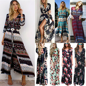 a6171fab9d74 Womens Long Sleeve Maxi Dress Boho Summer Holiday Party Beach Floral ...