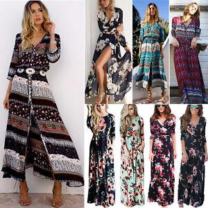 a6171fab9d74 Womens Long Sleeve Maxi Dress Boho Summer Holiday Party Beach Floral ...