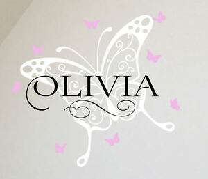 Image is loading Large-Monogram-Wall-Sticker-Baby-Name-Letter-Butterflies- & Large Monogram Wall Sticker Baby Name Letter Butterflies Fairy Girls ...